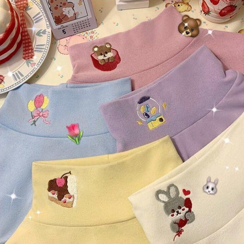 Harajuku Kawaii Fashion Pastel Embroidered Turtleneck (5 Colors)