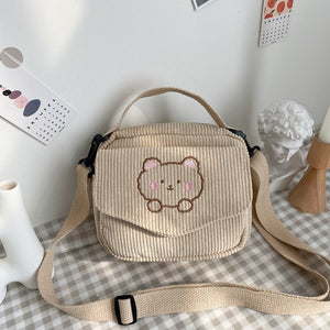 Harajuku Kawaii Fashion Bear Corduroy Shoulder Bag (4 Colors)