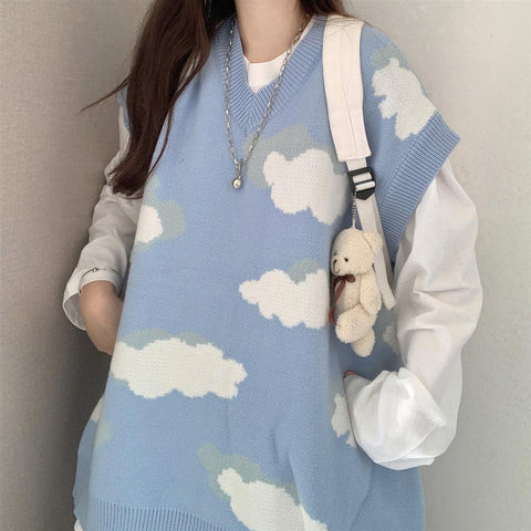 Harajuku Kawaii Fashion Oversized Cloud Vest