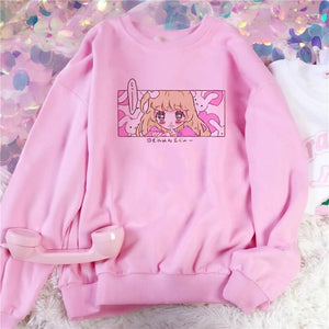 Harajuku Kawaii Fashion Anime Girl Sweatshirt (Black/Pink/White)
