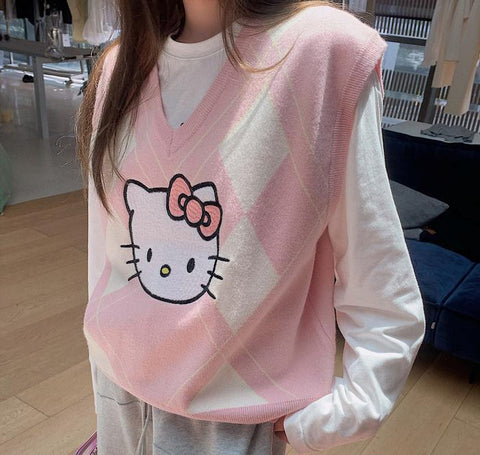 Harajuku Kawaii Fashion Hello Kitty Vest (Black/Pink/Grey)