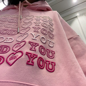 Harajuku Kawaii Fashion Conversation Hearts Embroidered Hoodie (Black/Pink)
