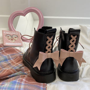 Harajuku Kawaii Fashion Laceup Bow Combat Boots
