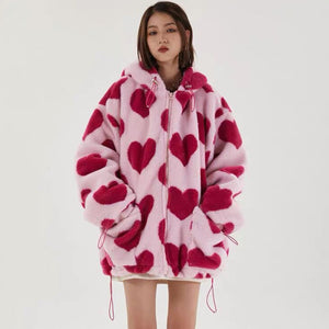 Harajuku Kawaii Fashion Heart Print Overzised Faux Fur Coat (3 Colors)