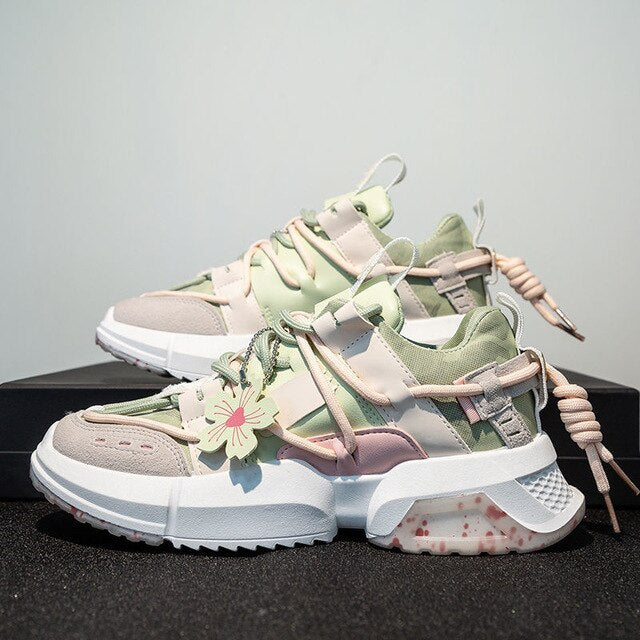 Harajuku Kawaii Fashion Sakura Oversized Sneakers (Pink/Green)
