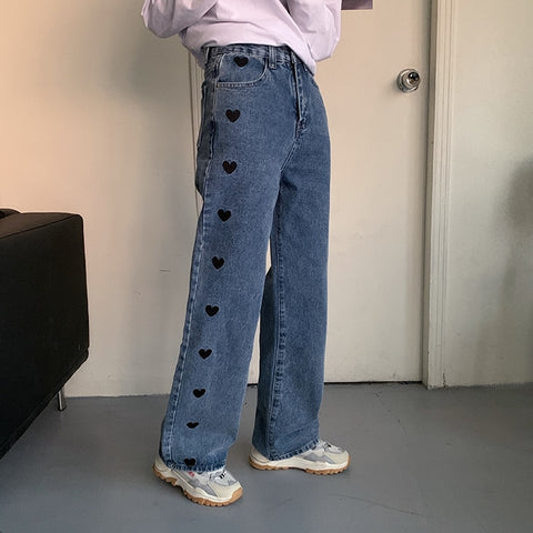 Harajuku Kawaii Fashion Heart Print Wide Leg Jeans