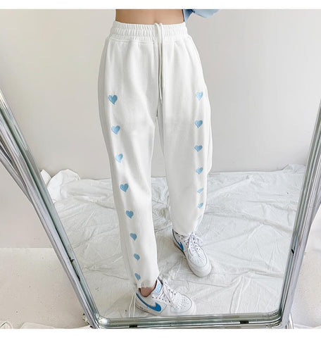 Harajuku Korean Style Summer White Sweatpants Heart Embroidery
