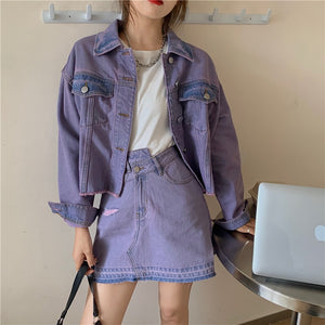 Harajuku Kawaii Fashion Lavender Denim Two Piece Set