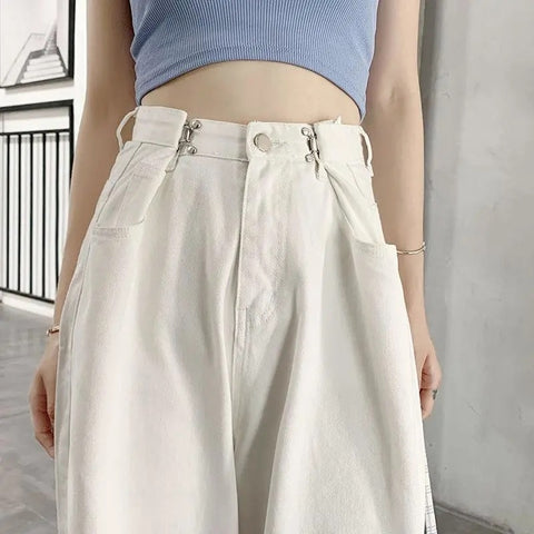 Harajuku Korean Style Adjustable Waist Wide Leg Jeans