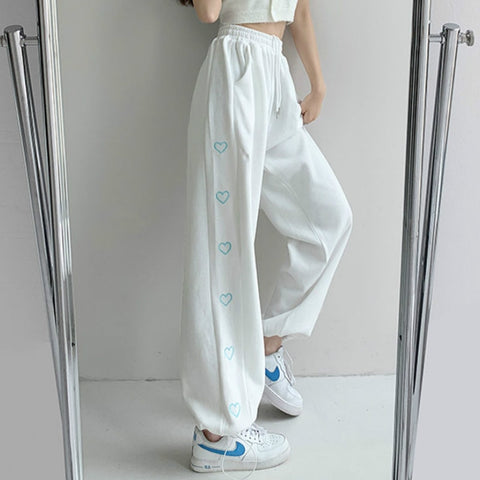 Harajuku Korean Style Summer White Sweatpants Heart Strip