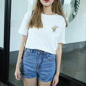 Harajuku Mori Girl Style Embroidered Bouquet T-shirt (White/Blue)