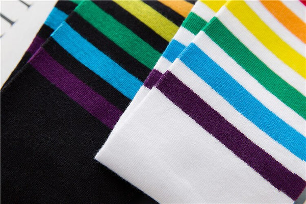 Harajuku Rainbow Stripe Knee Socks