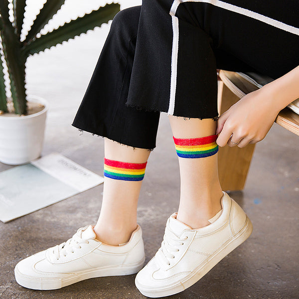 Harajuku Trasparent Sheer Rainbow Socks