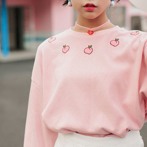 Peach Candy Sweatshirt (Pink/White)