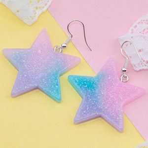 Harajuku Fairy Kei Pastel Star Acrylic Earrings