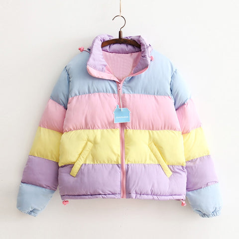 Pastel Rainbow Cropped Down Jacket