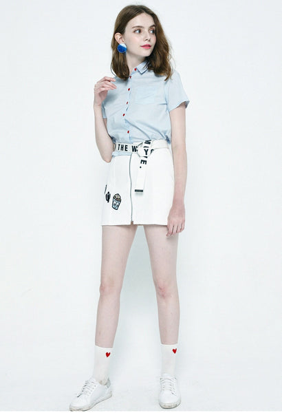 Harajuku Heart Button Cropped Shirt