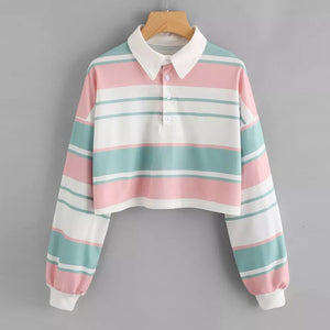 Harajuku Retro Striped Pastel Polo Tshirt