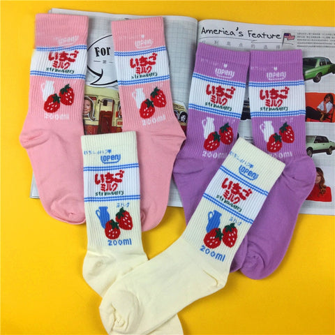 Japanese Ichigo Milk Ankle Socks