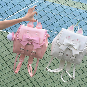Harajuku Leather Cat Backpack (Pink/White)