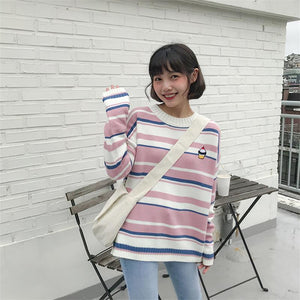 HARAJUKU PASTEL STRIPED ICE CREAM KNIT SWEATER