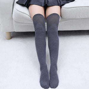 Plain Black White Grey Overknee Socks