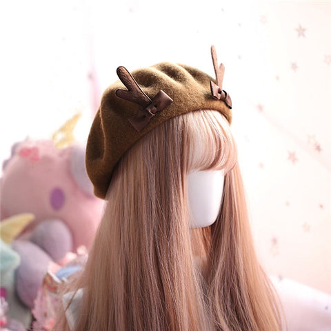 Harajuku Deer Horn Beret (8 Colors)