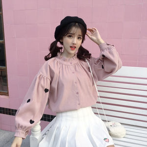 HARAJUKU HEART LANTERN SLEEVE BLOUSE SHIRT (PINK/WHITE)