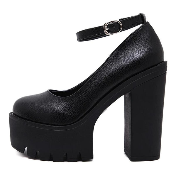 Harajuku Platform Ankle Strap Pumps (Black/White)