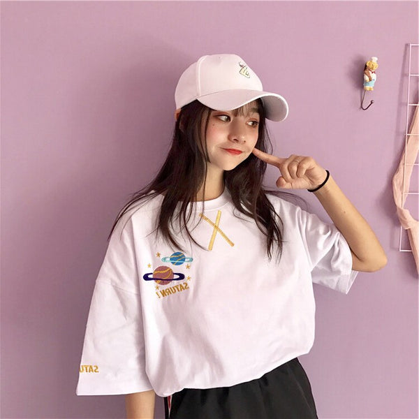 Harajuku Pink Planet T-shirt (Pink/white)