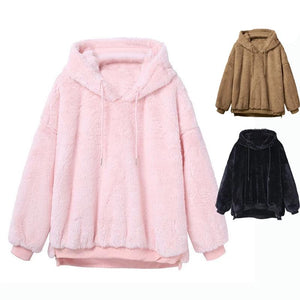 Harajuku Soft Teddy Hoodie (Black/Pink/Brown)