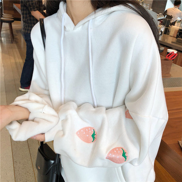 Strawberry Sleeves Forever Sweatshirt (White/Lavender)
