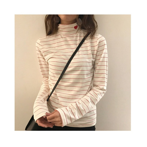 Essential Harajuku Heart Long Sleeve Turtleneck Sweater (10 Colors)