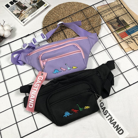Harajuku Dinosaur Chest Bag (Lavender/Black)