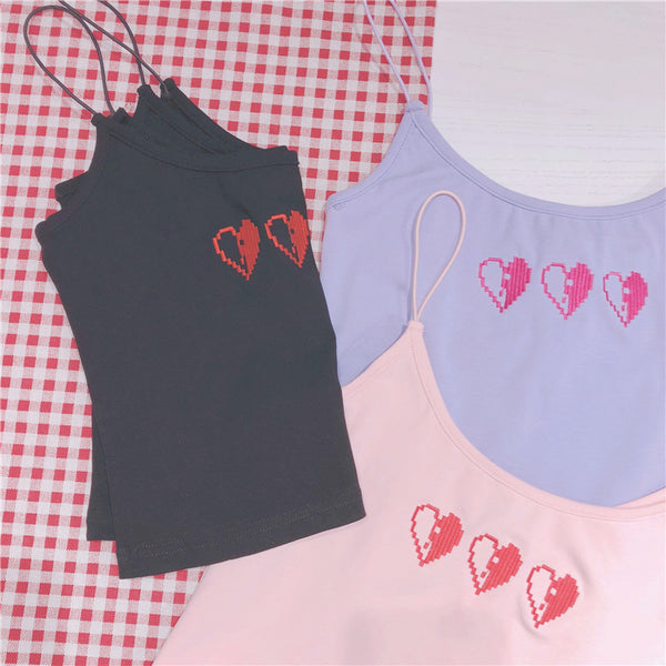 Pixel Heart Embroidered Harajuku Tank Top (Pink/Purple/Black)