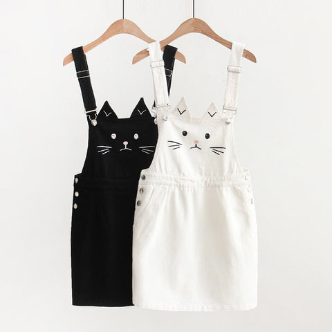 Harajuku Cat Face Overalls (Black/White)