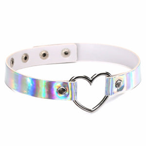 HARAJUKU HOLOGRAPHIC IRIDESCENT HEART CHOKER (4 COLORS)