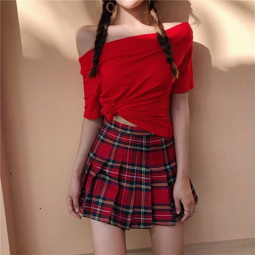 HARAJUKU SCHOOL UNIFORM STYLE PLEATED SKIRT (RED/GREEN/BLUE)