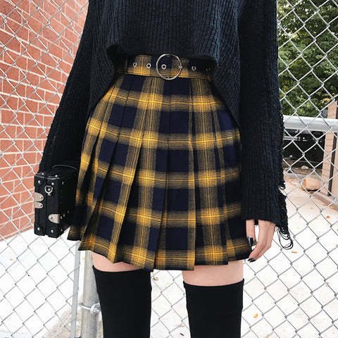 Harajuku Fall Winter Plaid Tennis Skirt (Yellow)