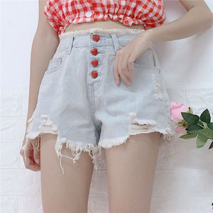 Harajuku Heart Button Ripped Denim Shorts
