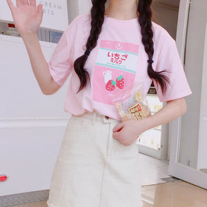 HARAJUKU SOFT PINK STRAWBERRY MILK TEE