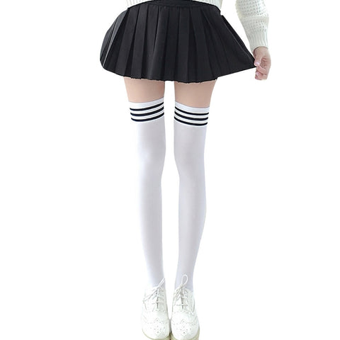 Striped Black White Overknee Socks