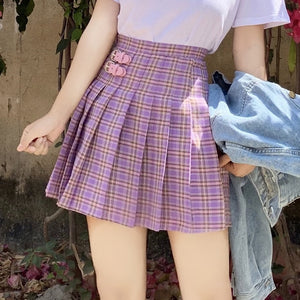 Harajuku High Waist Plaid Purple Tennis Skirt