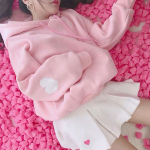 HARAJUKU HEART ELBOW PATCH HOODIE