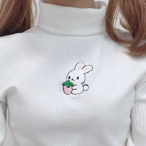 HARAJUKU BUNNY EMBROIDERED TURTLENECK SWEATER