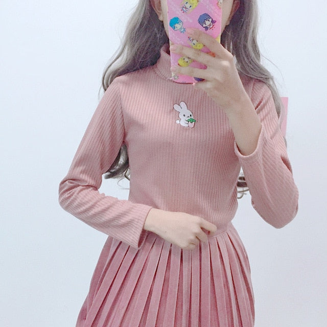 Harajuku Bunny Embroidered Turtleneck Sweater BFCM Special Price