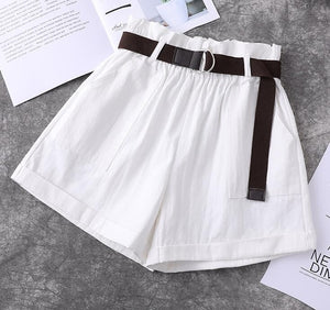 Korean Style Elastic Paperbag High Waisted Shorts (4 Colors)