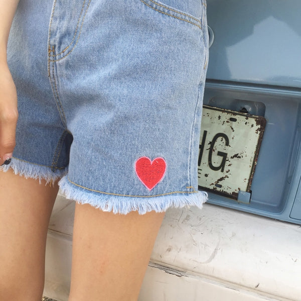 Harajuku Embroidered Hearts Shorts