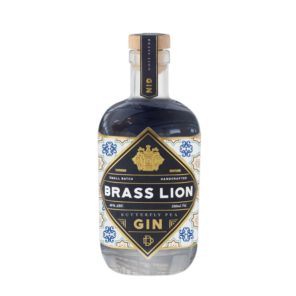 Brass Lion Butterfly Pea Gin