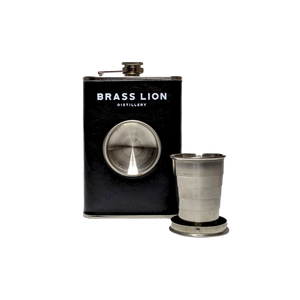 Brass Lion Hip Flask with collapsible shot glass